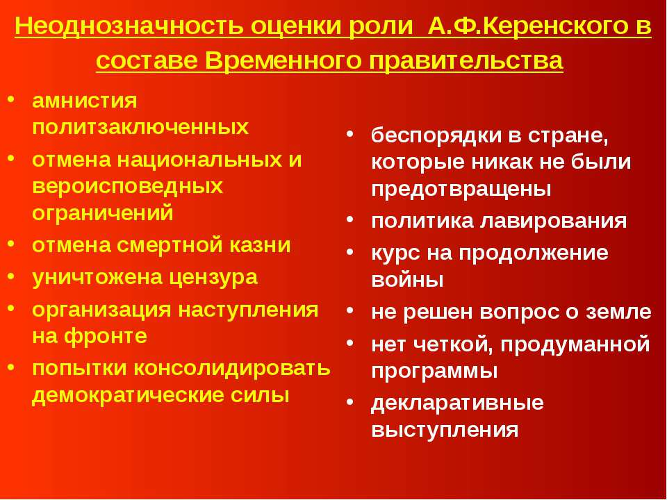 Неоднозначность оценки роли А.Ф.Керенского в составе Временного правительства...