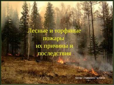 Лесные и торфяные пожары их причины и последствия Автор: учащиеся 7 класса