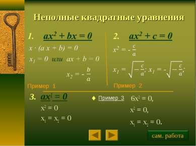 Неполные квадратные уравнения ax2 = 0 x2 = 0 x1 = x2 = 0 Пример 1 Пример 2 Пр...