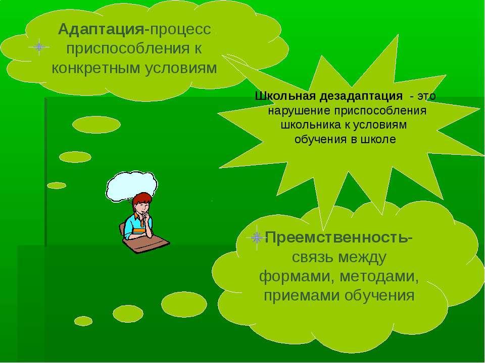 Адаптация-процесс приспособления к конкретным условиям Преемственность-связь ...