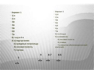 Вариант 1 1) а 2) а 3)в 4)а 5)в 6)б 7)а 8) г-в-д-а-б-е 9) а) надгортанник  ...