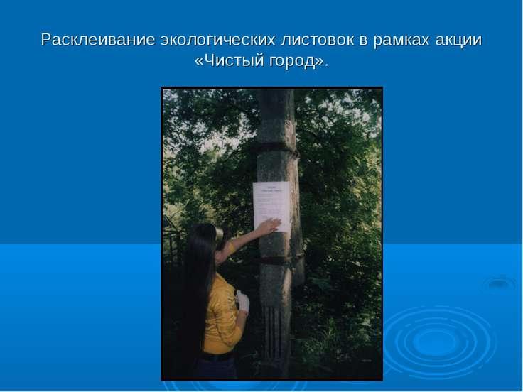 Расклеивание экологических листовок в рамках акции «Чистый город».