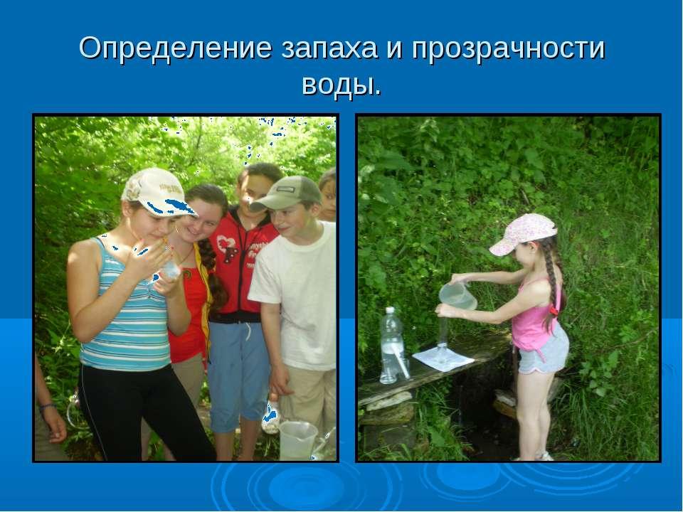 Определение запаха и прозрачности воды.