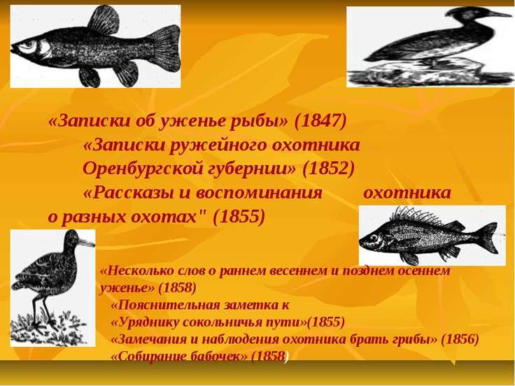 «Записки об уженье рыбы» (1847) «Записки ружейного охотника Оренбургской губе...