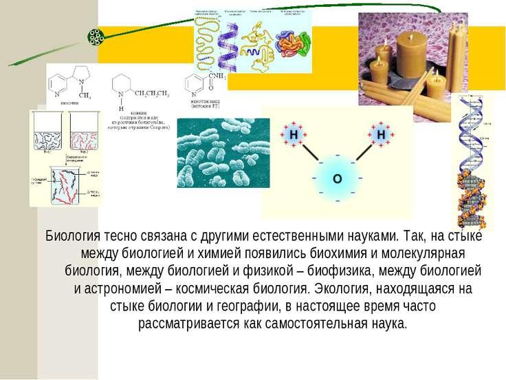 Биология тесно связана с другими естественными науками. Так, на стыке между б...