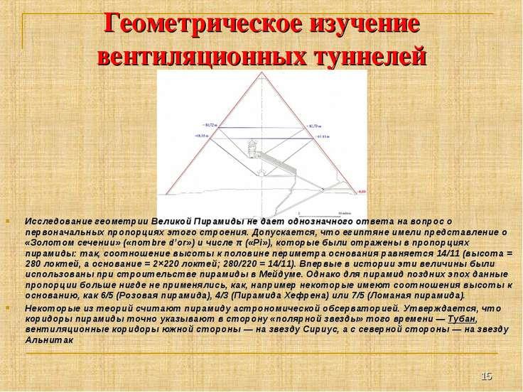 Геометрическое изучение вентиляционных туннелей Исследование геометрии Велико...