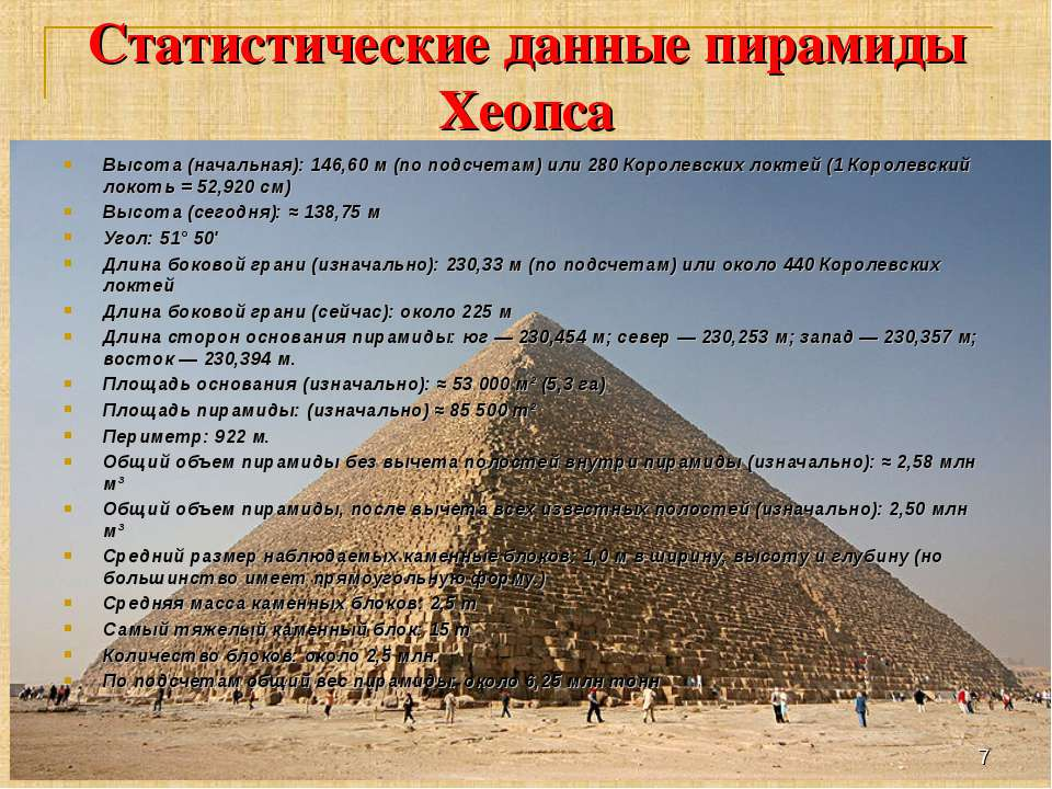 Статистические данные пирамиды Хеопса Высота (начальная): 146,60 м (по подсче...