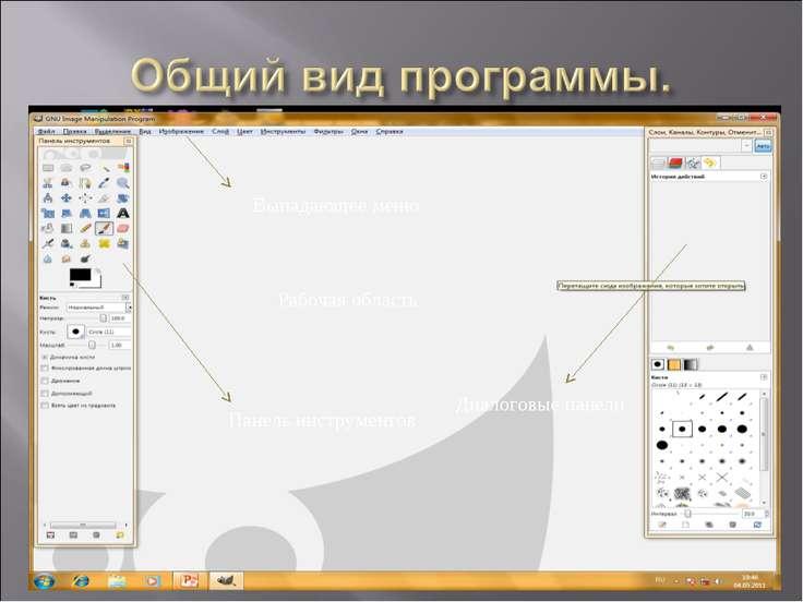 Выпадающее меню Рабочая область Панель инструментов Диалоговые панели