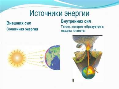 Источники энергии Внешних сил Солнечная энергия Внутренних сил Тепло, которое...