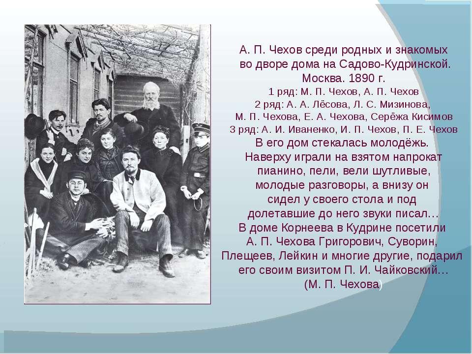 А. П. Чехов среди родных и знакомых во дворе дома на Садово-Кудринской. Москв...