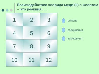 1 4 3 2 5 10 7 9 8 6 12 11 Взаимодействие хлорида меди (II) с железом – это р...