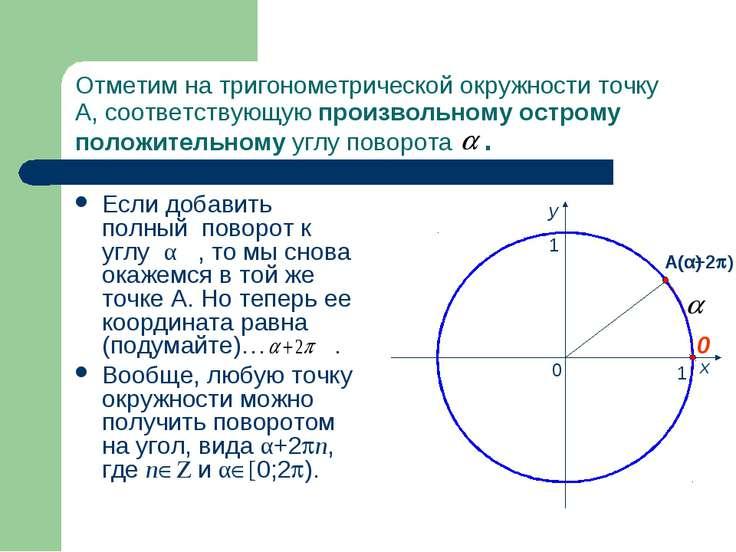 Отметим на тригонометрической окружности точку А, соответствующую произвольно...