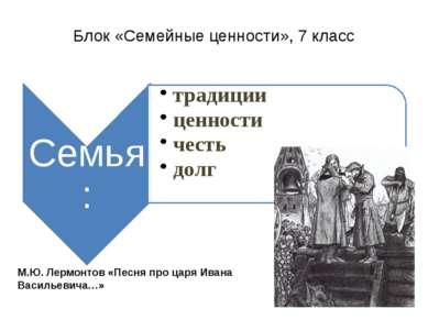Блок «Семейные ценности», 7 класс М.Ю. Лермонтов «Песня про царя Ивана Василь...