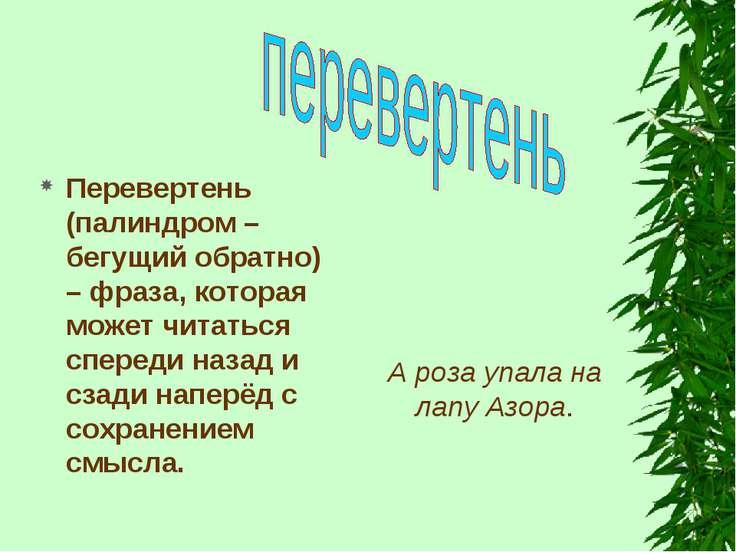 Перевертень (палиндром – бегущий обратно) – фраза, которая может читаться спе...