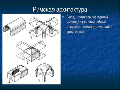 Римская архитектура Свод – перекрытие здания, имеющее криволинейные очертания...