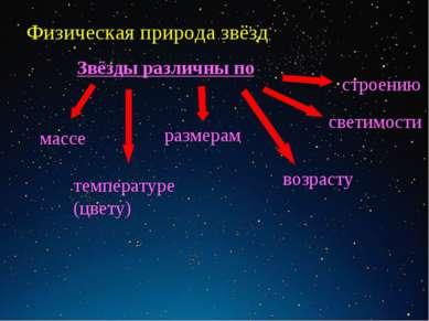 Физическая природа звёзд массе размерам светимости температуре (цвету) возрас...