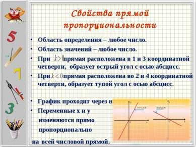 Свойства прямой пропорциональности Область определения – любое число. Область...
