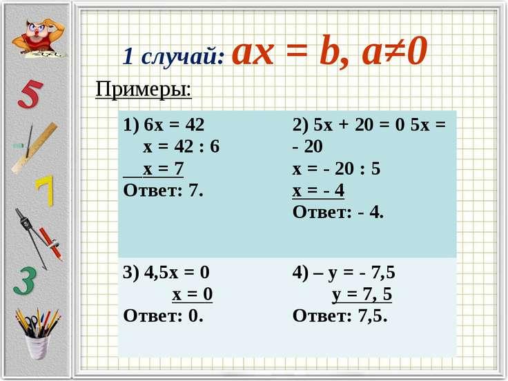 1 случай: ax = b, a≠0 Примеры:  1) 6х = 42 х = 42 : 6 х = 7 Ответ: 7. 2) 5х ...