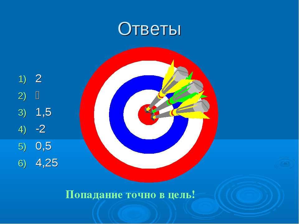 Ответы 2 ⅓ 1,5 -2 0,5 4,25 Попадание точно в цель!