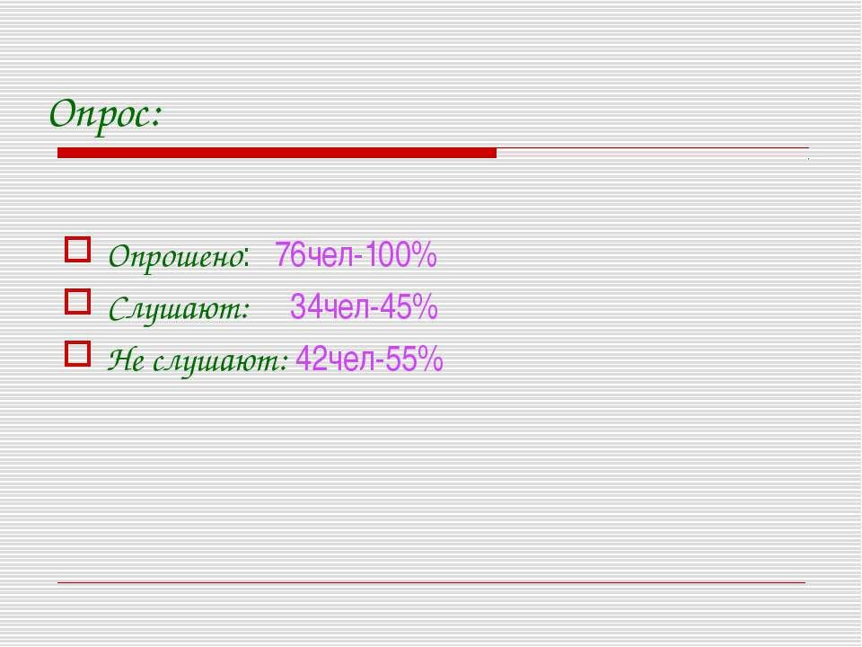 Опрос: Опрошено: 76чел-100% Слушают: 34чел-45% Не слушают: 42чел-55%