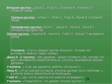 Вторая группа ( Даша С., Егор А., Славина Б., Никита С.) сложили схему: Треть...