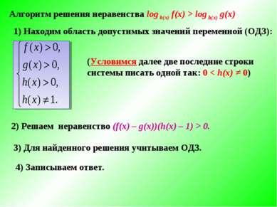 Алгоритм решения неравенства log h(x) f(x) > log h(x) g(x) 1) Находим область...