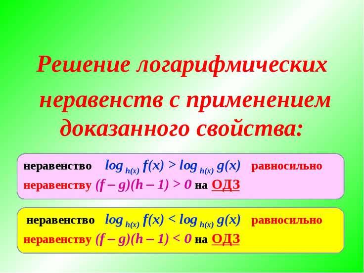 Решение логарифмических неравенств с применением доказанного свойства: