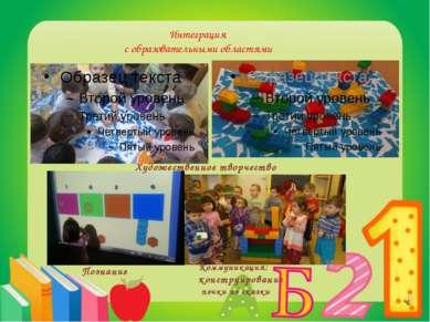 Интеграция с образовательными областями Художественное творчество Познание Ко...