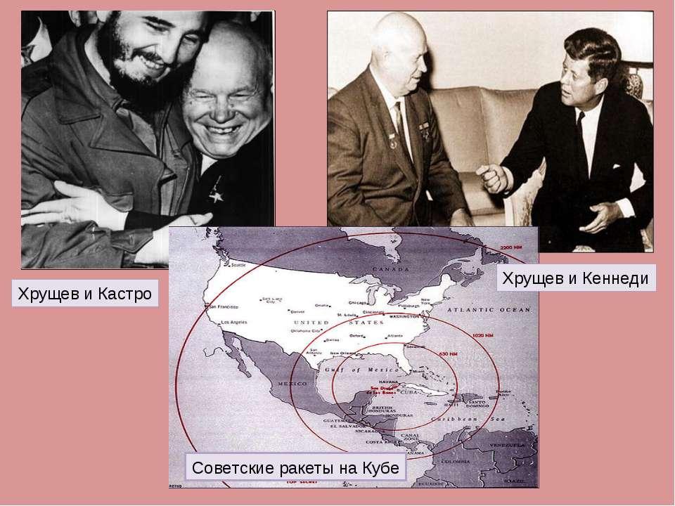 Хрущев и Кастро Хрущев и Кеннеди Советские ракеты на Кубе