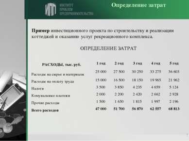 * Определение затрат Пример инвестиционного проекта по строительству и реализ...