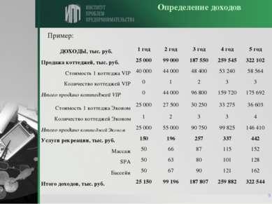 * Определение доходов Пример: ДОХОДЫ, тыс. руб. 1 год 2 год 3 год 4 год 5 год...