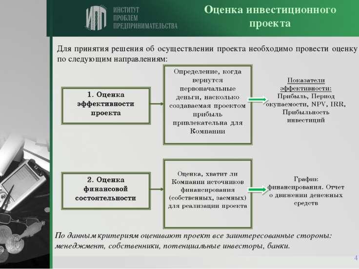 * Для принятия решения об осуществлении проекта необходимо провести оценку по...