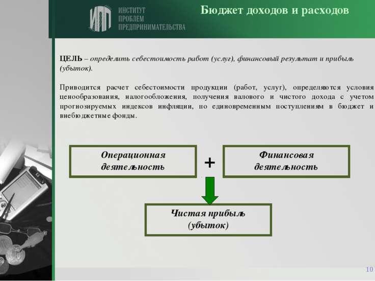 * Бюджет доходов и расходов ЦЕЛЬ – определить себестоимость работ (услуг), фи...