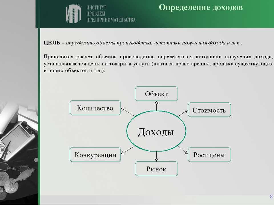 * Определение доходов ЦЕЛЬ – определить объемы производства, источники получе...