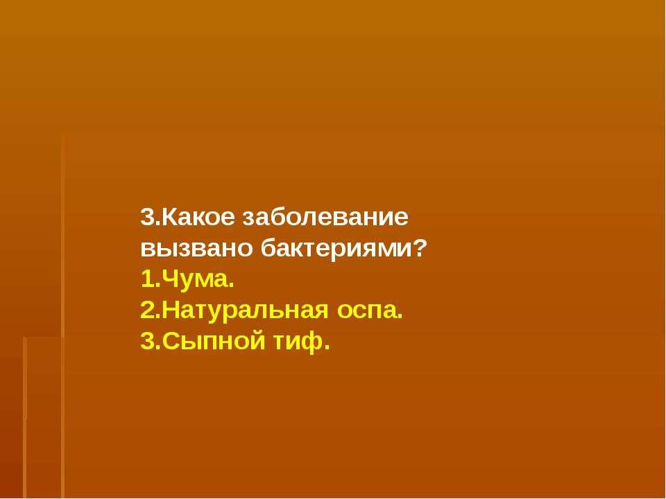 3.Какое заболевание вызвано бактериями? 1.Чума. 2.Натуральная оспа. 3.Сыпной ...
