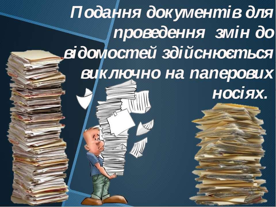 Подання документів для проведення змін до відомостей здійснюється виключно на...