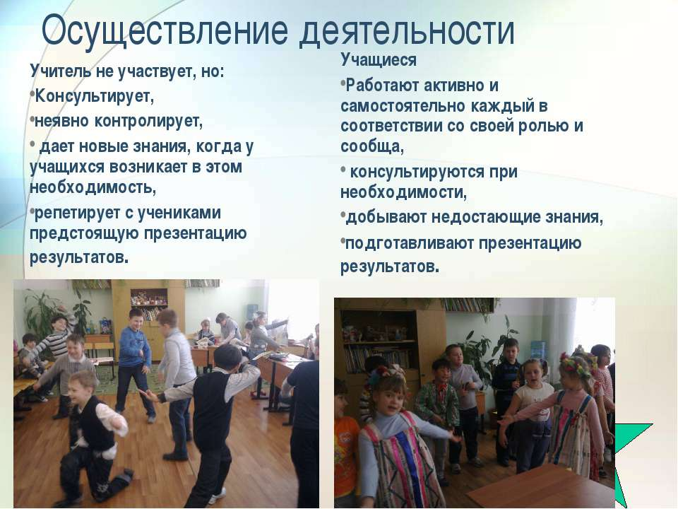 Осуществление деятельности Учитель не участвует, но: Консультирует, неявно ко...
