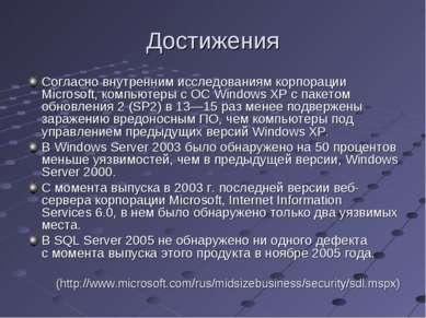 Достижения Согласно внутренним исследованиям корпорации Microsoft, компьютеры...