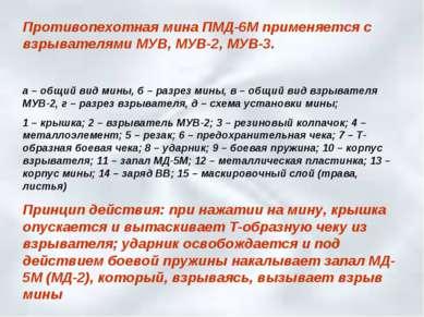 Противопехотная мина ПМД-6М применяется с взрывателями МУВ, МУВ-2, МУВ-3. а –...