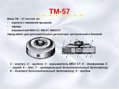 ТМ-57 Мина ТМ – 57 состоит из: корпуса с нажимной крышкой; заряда; взрывателе...