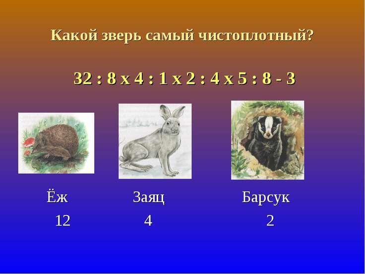 Какой зверь самый чистоплотный? 32 : 8 х 4 : 1 х 2 : 4 х 5 : 8 - 3 Ёж Заяц Ба...