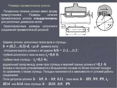 Размеры призматических шпонок Поперечное сечение шпонки имеет форму прямоугол...