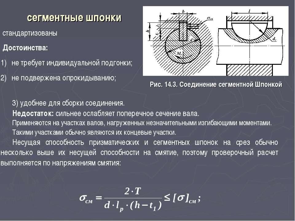 сегментные шпонки Рис. 14.3. Соединение сегментной Шпонкой стандартизованы До...