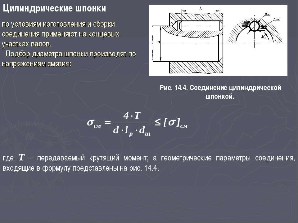 Цилиндрические шпонки Рис. 14.4. Соединение цилиндрической шпонкой. где T – п...