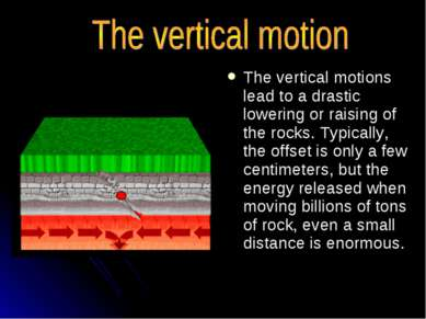 The vertical motions lead to a drastic lowering or raising of the rocks. Typi...