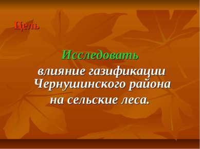 Цель Исследовать влияние газификации Чернушинского района на сельские леса.