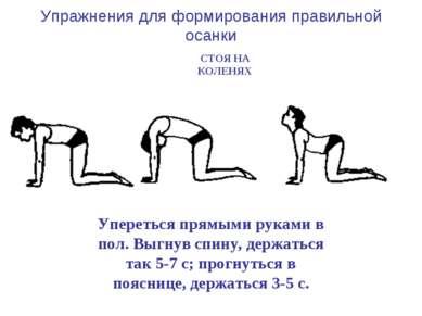 Упражнения для формирования правильной осанки Упереться прямыми руками в пол....