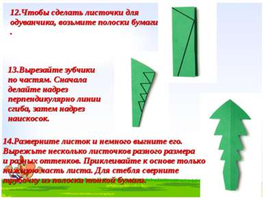 12.Чтобы сделать листочки для одуванчика, возьмите полоски бумаги . 13.Выреза...
