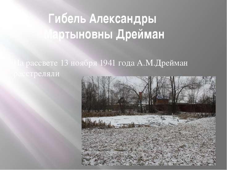 Гибель Александры Мартыновны Дрейман На рассвете 13 ноября 1941 года А.М.Дрей...