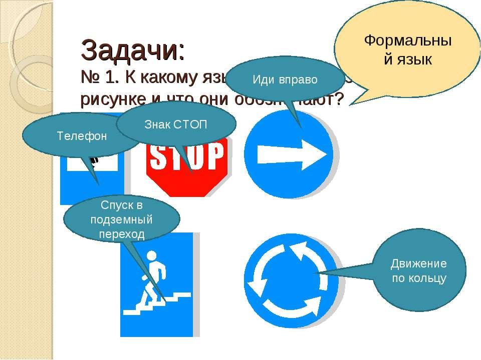 Задачи: № 1. К какому языку относятся знаки на рисунке и что они обозначают? ...